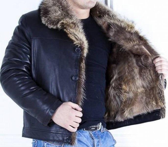 Кожаная куртка с волчьим мехом мужская купить