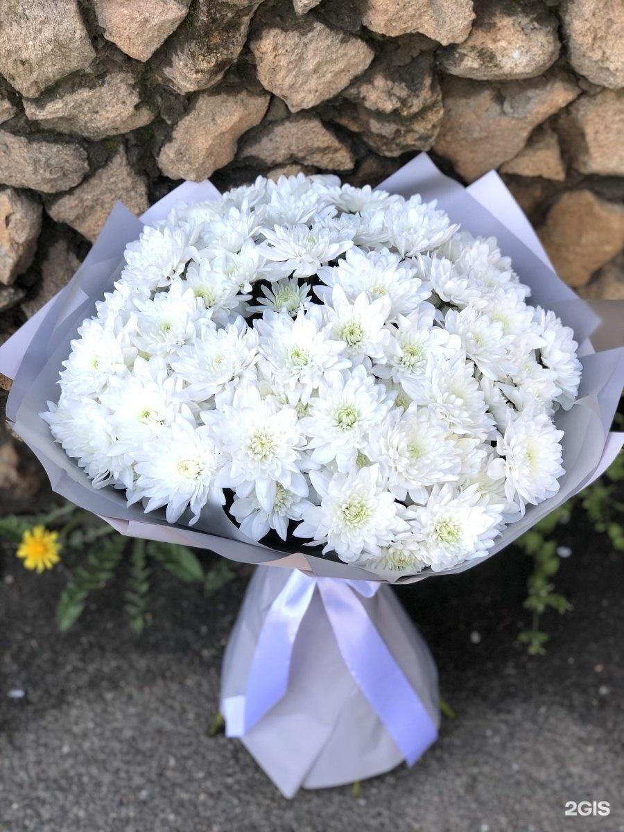 Букет из белых хризантем большой, доставка цветов